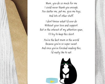 Instant Download Card for Mum, Printable Mother's Day Card, Funny Card for Cat Mums Digital Card, Mothering Sunday Cards