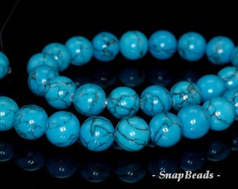 10mm Queen Turquoise Gemstone Blue Round 10mm Loose Beads 15.5 inch Full Strand (90148684-240)