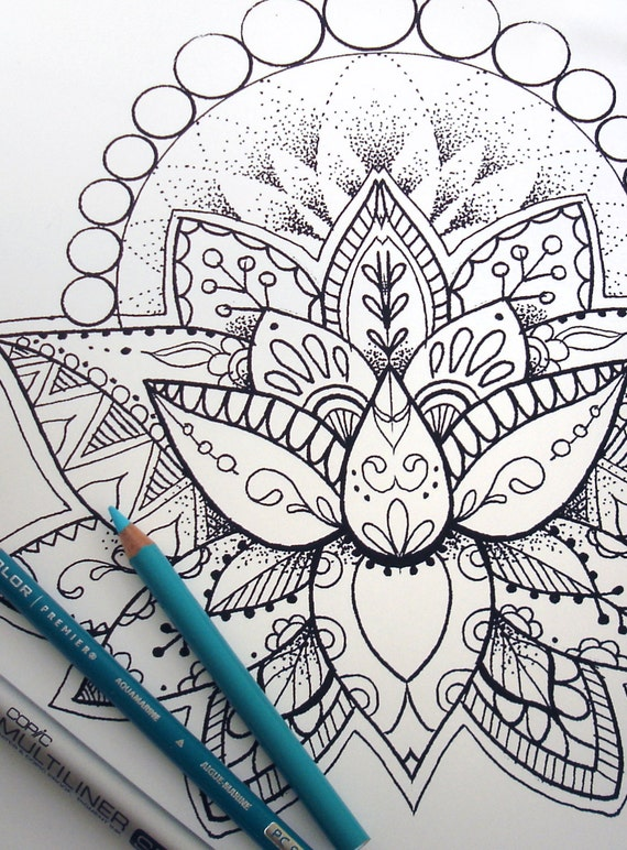 lotus flower coloring page instant download print your own coloring pages adult coloring book - Lotus Flower Coloring Pages
