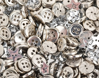 50 grams SILVER Buttons Mixed styles and sizes but0274