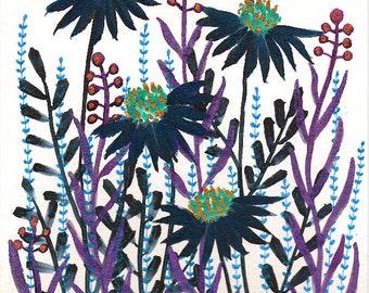Wild Brigid : Original Watercolor & Ink Painting of Dark Wild Flowers on Paper