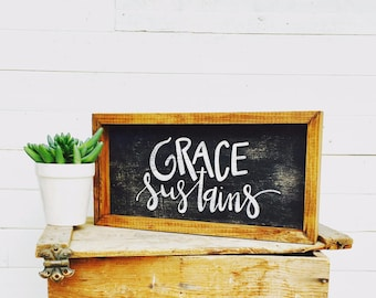 Grace Sustains | Small Rustic Sign | Home Decor | Mantle Sign | Gallery Wall