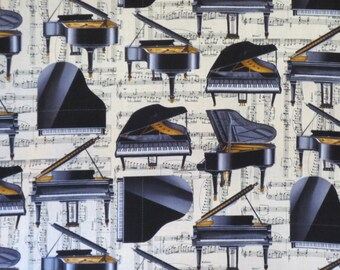Black and Beige Classic Piano Print Pure Cotton Fabric--By the Yard
