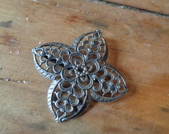 French Ornate Metal Filigree Flower.