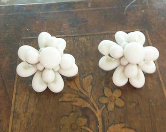 Mid-Century Cluster Earrings from West Germany - Milkglass Flowers