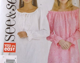 Misses Pullover Top See Sew Butterick B4427 Misses Loose Fitting Top Size Xsmall-Medium