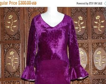 ON SALE Vintage 1960s Young Edwardian by Arpeja Purple Velvet 2 pc mini suit