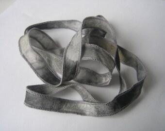 Hand Dyed Painted Habotai Silk Wrap Bracelet - shades of gray - Silk Fairy Ribbon DIY wrap bracelet Silk Bracelet  Ribbon Bracelet