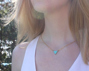 Turquoise Triangle Necklace // 16K Gold // Minimal Necklace // Layering Necklace // Teal Triangle // Geometric Necklace