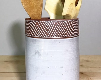 Ceramic Utensil Holder (Made to Order) - Kitchen Storage - Modern Minimal Simple Southwest Pottery by Osa