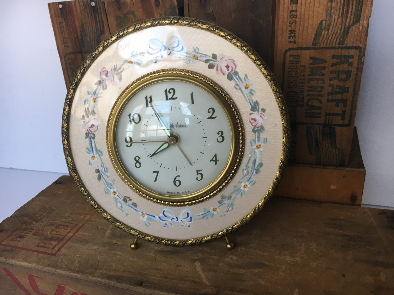 Vintage Alarm Clock Saks Fifth Avenue Hand-Painted Floral