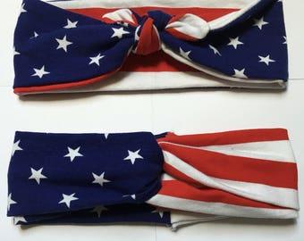 American Flag headband, Stars and Stripes Headband, Turban Headband, Top Knot Headband, red white and blue, headband, american flag