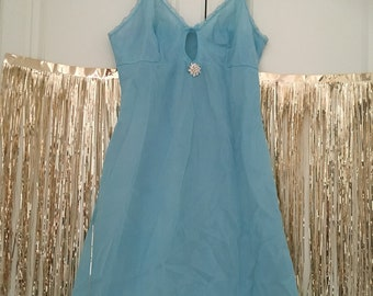 Baby blue vintage slip with gold rosebuds size small