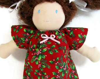Doll dress for your 10 to 12 inch Waldorf doll, deep red holly print, red green doll dress, Holiday doll dress