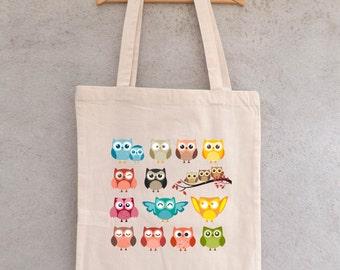 """Tote Bag""Family owls""or"" family fun ""- shopping bag - bag shopping bag - shopping bag - cotton bag"