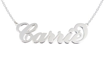 Sterling silver Name Necklace Sterling Silver Any Name Personalized Carrie Necklace 925