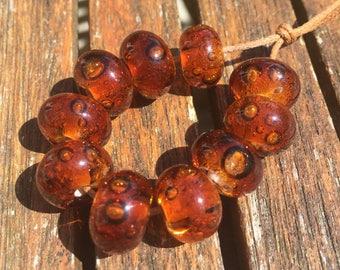 Dark Amber Bubbles Lampwork Glass Beads, SRA, UK Lampwork, UK Seller