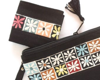 Vegan Women's Wallet - Black Women's Wallet - Floral Wallets