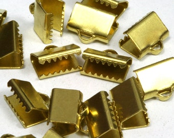 30 pcs 6x14 mm Raw Brass Ribbon Crimp Ends, Raw Brass Ribbon Crimp End, Ribbon Crimp Ends cap, with loop Findings R123 1780
