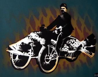 "Surrealistic painting ""Fish Rider"" Spraypaint stencil"