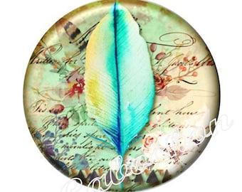 1 cabochon shown 30mm glass cabochon image Dreamcatcher, feather
