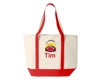 Family Canvas Tote Personalized with Car Embroidery