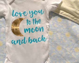 Love you to the moon and back onesie and blanket combo