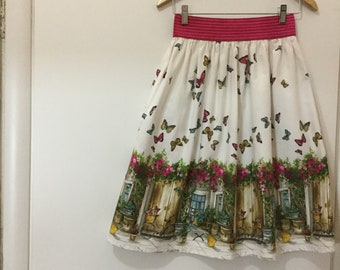 Skirt with elastic fuchsia and fantasy of butterflies/elastic waist skirt with butterflies