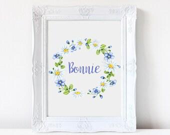 Wall art. Art print. Custom name art.  Floral. Nursery print. Watercolor flowers. Watercolor wreath, Daisy, nursery art
