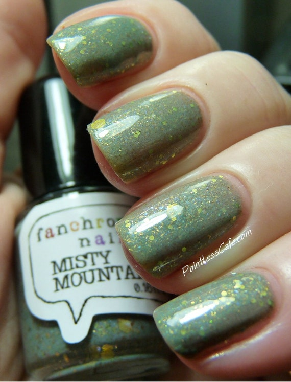 Misty Mountains Nail Polish sage green with iridescent