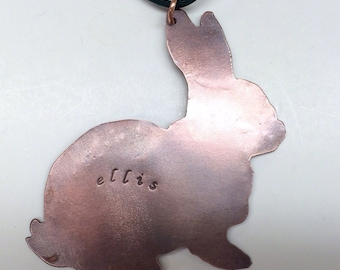 Copper Bunny Rabbit Ornament, Blank or Personalized