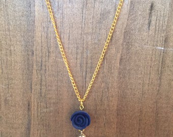 Navy blue diamond and pearl gold chain necklace
