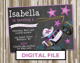 Starla from Blaze and the Monster Machines Birthday Party Invitation--Personalized Digital File