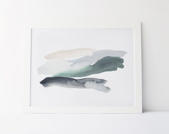 Watercolor Painting, Modern Watercolor Fine Art Giclée Print, Abstract Landscape, Green and Dove Grey