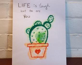 Life is Tough - Cactus Canvas
