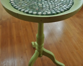 "Field of Greens! 20.5"" H x 12"" D lime green accent table with mosaic top of various shades of green mini-vitreous tile."