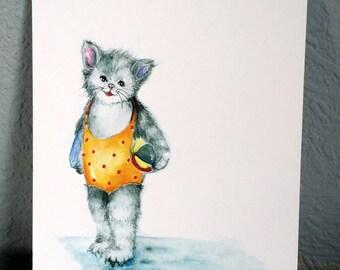 cat, postcard