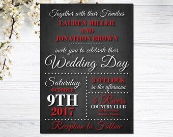 Red and Black Wedding Invitations | Chalkboard Wedding Invites | Elegant Wedding Invite | Timeless Event | Broadway Inspired Wedding Invite