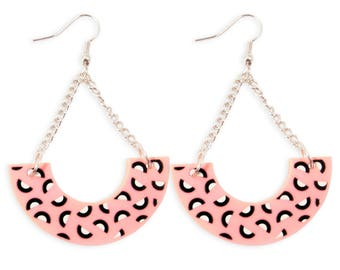 Pink 80's 90's Pattern Acrylic Half Hoop Long Earrings Bold - Memphis Style Kitschy 80s 90s Pastels Geometric Naive Retro Cute Colorful