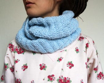 Knitted Snood Circle Scarf Warm Cowl Neckwarmer Winter Women Accessories Gift For Her Chunky Oversized Wool Wrap Scarf