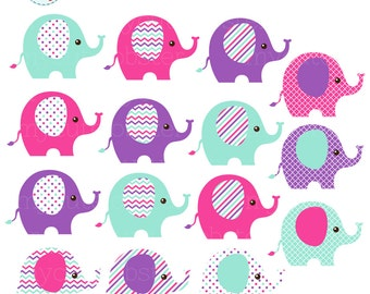 Elephants Clipart Set - clip art set of patterned elephants, colorful elephants - personal use, small commercial use, instant download