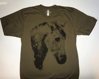 horse t-shirt, on sale, army green, silkscreened t shirt, mens t-shirt, screenprinted tee, 1Aeon