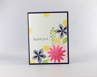Handmade Thank You Card - Hand Stamped Card - Stampin Up Card - Thanks Card - Gratitude Card - Flowers Technique Card - Springtime Card