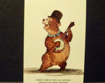1980's Bear Jamboree Wendell Brun- Country Bear Post Card- Marc Davis's Drawing for Walt Disney