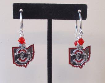 Ohio State Buckeyes Earrings Scarlet and Gray Crystal College football Basketball College OSU Buckeyes Jewelry Accessory Bling Fanwear