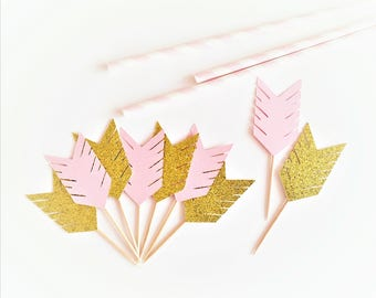 Gold Glitter Arrow Cupcake Toppers