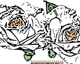 Adult Coloring Pages Rose Page Printable For Adults Instant Download ArtArt Therapy