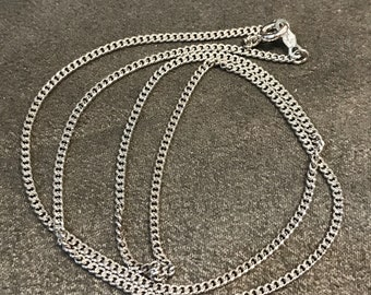 "18"", 2mm, vintage Sterling silver necklace, solid 925 silver curb link chain, stamped 925 Italy"