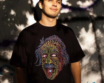 Acid Scientist tongue out psychedelic men's t-shirt