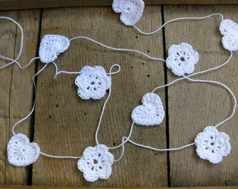 Crochet garland, wedding garland, crocheted hearts and flowers, wall hanging, wedding crochet garland, embellishment cotton white applique